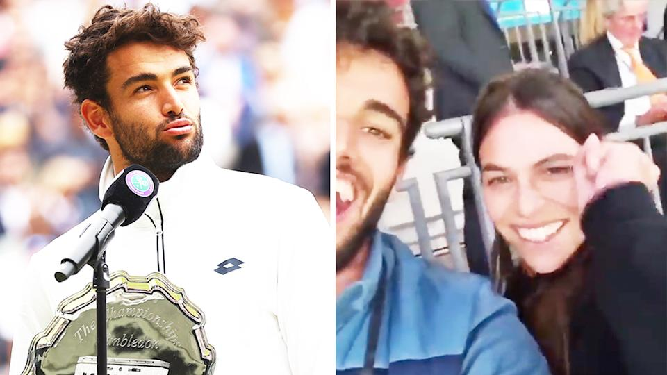 Matteo Berrettini (pictured left) during his Wimbledon runners-up speech and (pictured right) Ajla Tomljanovic celebrating with Berrettini at the Euro 2020 final.