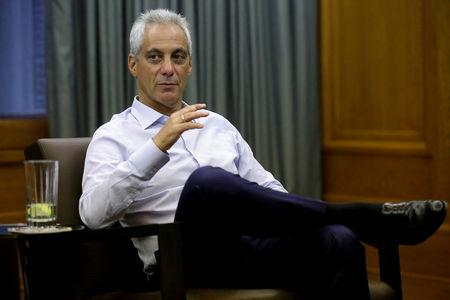 FILE PHOTO: Chicago Mayor Rahm Emanuel speaks during an interview at City Hall in Chicago