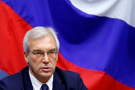 Russian ambassador to NATO Grushko addresses a news conference after the NATO-Russia Council in Brussels