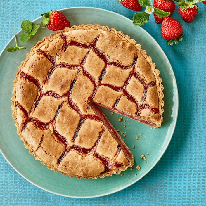 <p>Here we swirl jammy fruit through the almond-based pastry cream, frangipane, in a pretty herringbone pattern. The earthy flavor of spelt flour is a nice complement to the filling. Look for it with other flours at well-stocked supermarkets.</p>