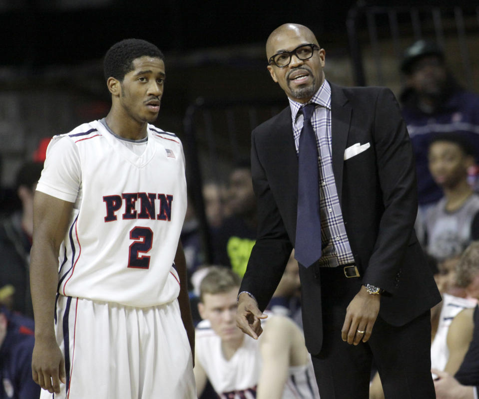 """Jerome Allen, now an assistant with the <a class=""""link rapid-noclick-resp"""" href=""""/nba/teams/boston/"""" data-ylk=""""slk:Boston Celtics"""">Boston Celtics</a>, was the head coach at Penn, his alma mater, from 2010-2015. (AP Photo/H. Rumph Jr.)"""