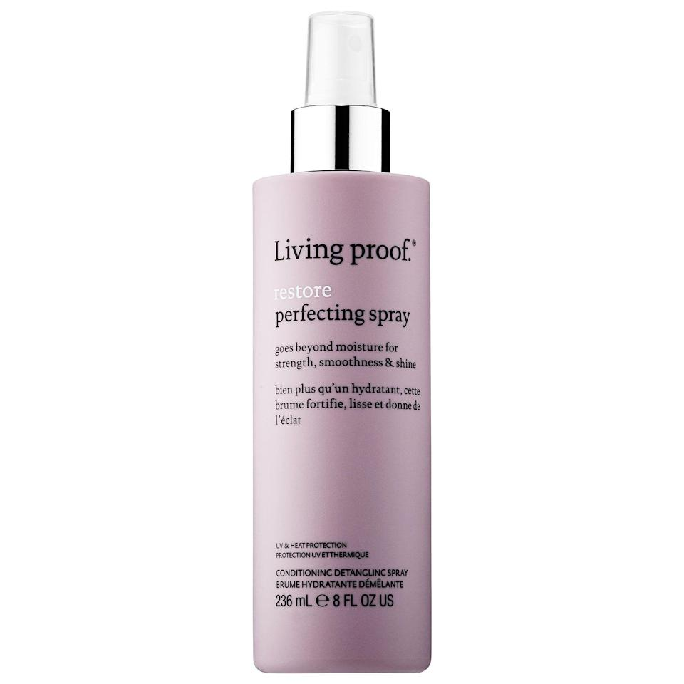 "<p><strong>Living proof</strong></p><p>sephora.com</p><p><strong>$29.00</strong></p><p><a href=""https://go.redirectingat.com?id=74968X1596630&url=https%3A%2F%2Fwww.sephora.com%2Fproduct%2Fre-store-perfecting-spray-P415925&sref=https%3A%2F%2Fwww.cosmopolitan.com%2Fstyle-beauty%2Fbeauty%2Fg27091073%2Fbest-hair-detangler%2F"" rel=""nofollow noopener"" target=""_blank"" data-ylk=""slk:Shop Now"" class=""link rapid-noclick-resp"">Shop Now</a></p><p>HOKAY, if you blow-dry or heat style your hair on the reg, then you one hundred percent need to be using a <a href=""https://www.cosmopolitan.com/style-beauty/beauty/g26132600/heat-protection-hair-spray/"" rel=""nofollow noopener"" target=""_blank"" data-ylk=""slk:heat protectant"" class=""link rapid-noclick-resp"">heat protectant</a> (it's essential for preventing breakage and split ends). I always spritz this detangling spray on my damp hair before blow-drying. <strong>It provides up to 400 degrees of heat protection </strong>and shields from hair from color-fading UV.</p>"