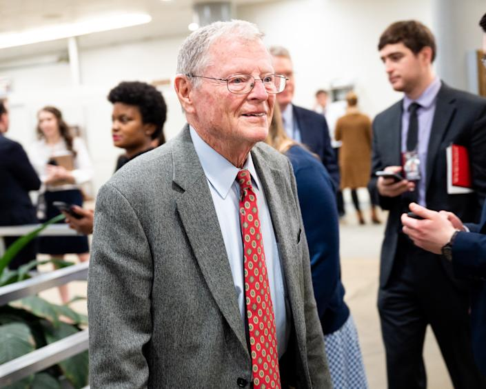 WASHINGTON, DC, UNITED STATES, FEBRUARY 3, 2020: U.S. Senator Jim Inhofe (R-IA) arriving for the Senate impeachment trial.- PHOTOGRAPH BY Michael Brochstein / Echoes Wire/ Barcroft Media (Photo credit should read Michael Brochstein / Echoes Wire/Barcroft Media via Getty Images)