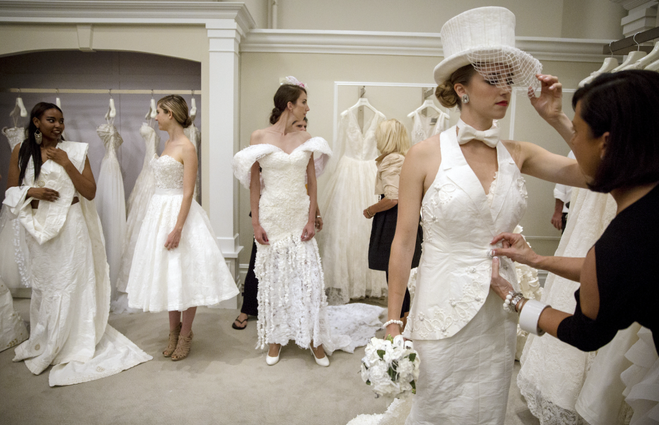 Models prepare for the 11th annual toilet paper wedding dress contest at Kleinfled's Bridal Boutique in New York June 17, 2015. (Photo: REUTERS/Brendan McDermid)