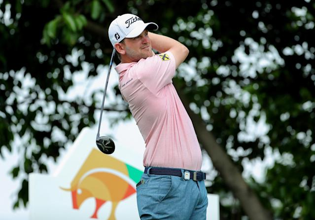 Bernd Wiesberger of Austria plays a shot at the Shenzhen International golf tournament in Shenzhen, in China's southern Guangdong province on April 21, 2017. (AFP Photo/STR, STR)