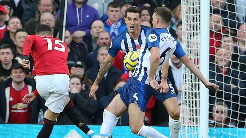 Andreas Pereira (l) opened the scoring for Manchester United in the 3-1 victory over Brighton