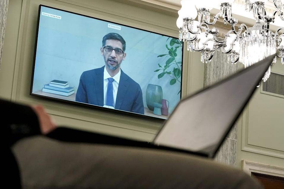 WASHINGTON, DC - OCTOBER 28: Google CEO Sundar Pichai testifies remotely during a Senate Commerce, Science, and Transportation Committee hearing with big tech companies October 28, 2020 on Capitol Hill in Washington, DC. The committee is discussing reforming Section 230 of the Communications Decency Act. (Photo by Greg Nash-Pool/Getty Images)