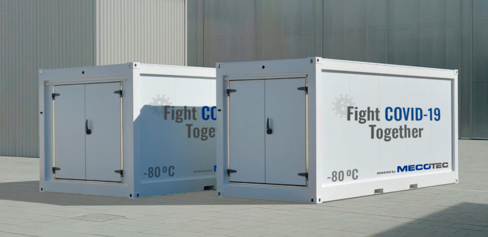 In this image released on Tuesday, Nov. 11, 2020, the first Mobile Hybrid Container Solution made by MECOTEC with an active deep cooling technology for transport, storage and distribution of COVID-19-Vaccines down to - 80°C / -112 °F. Press release and media available to download at www.apmultimedianewsroom.com/newsaktuell. Handout image - see Special Instructions. (MECOTEC/news aktuell via AP Images)