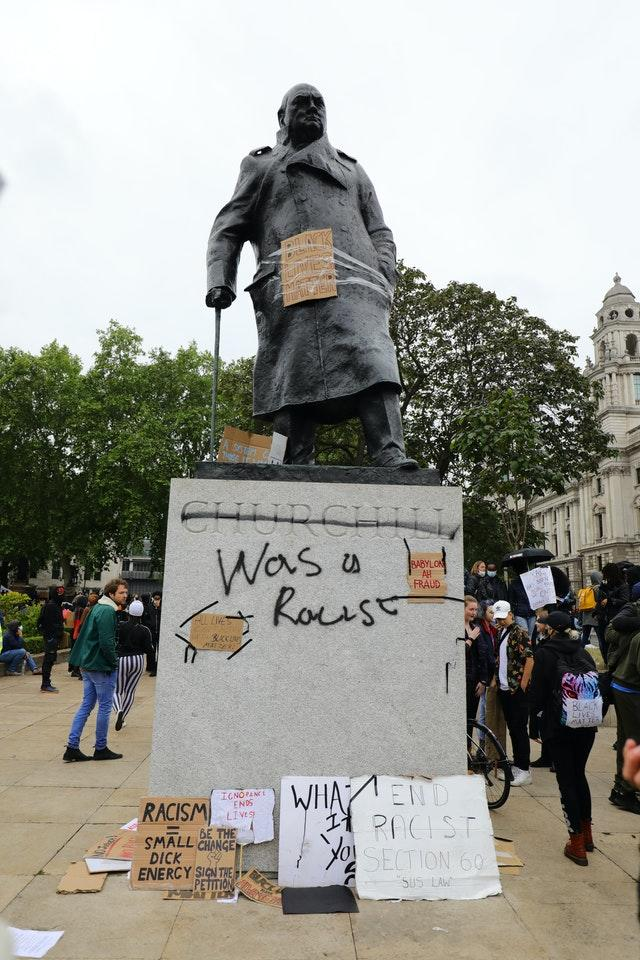 A statue of Winston Churchill  was vandalised