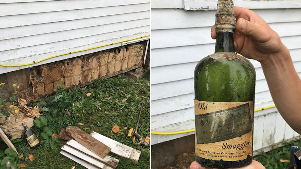 The couple found whiskey in the walls of the house after stripping away the timber, the bottles are from the prohibition era