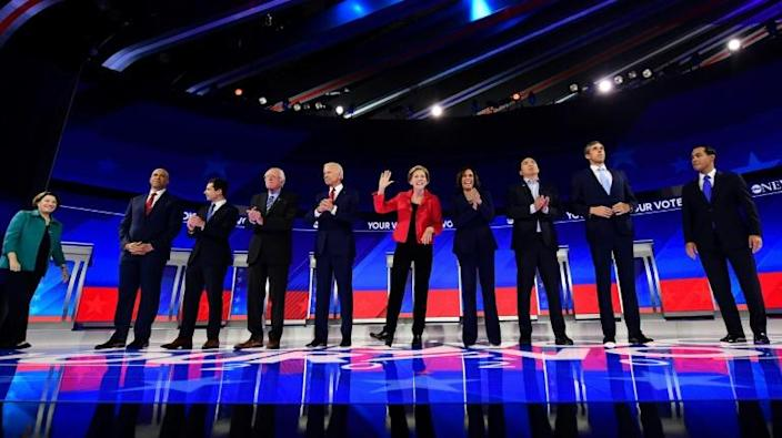 Ten Democratic hopefuls scrambled for breakout moments on the debate stage in Houston (AFP Photo/Frederic J. BROWN)