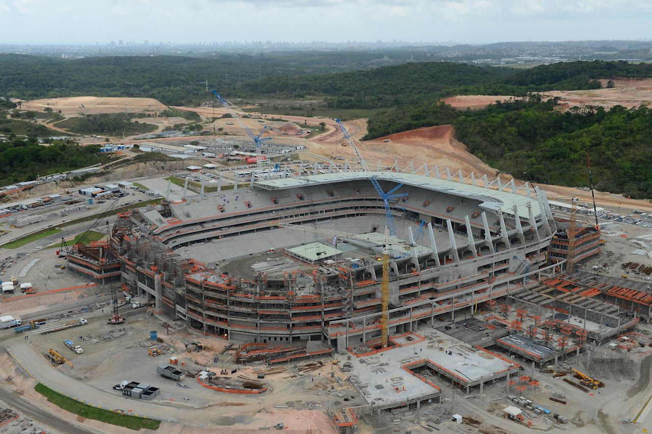 RECIFE, BRAZIL - DECEMBER 08:  An aerial shot of the construction of the Arena Pernambuco venue for the FIFA 2014 World Cupon December 8, 2012 in Recife, Brazil.  (Photo by Shaun Botterill/Getty Images)