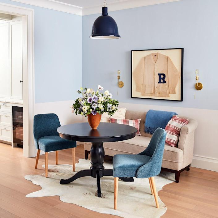 The dining area inside the 2020 Real Simple is Home is simple and swanky.