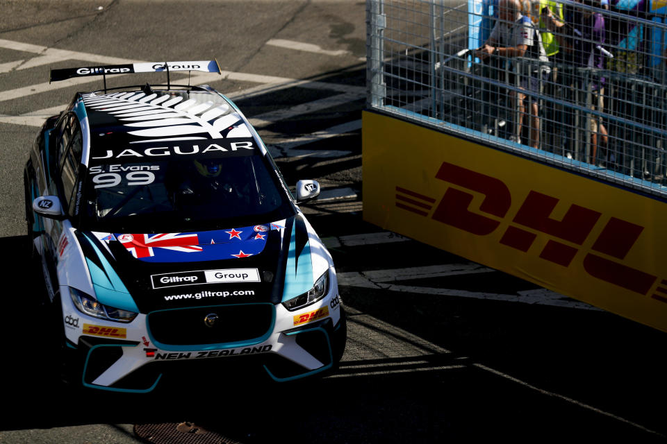 NEW YORK, NY - JULY 13: In this handout from FIA Formula E, Simon Evans (NZL), Team Asia New Zealand  during the Jaguar I-PACE eTROPHY Championship, prior to the New York E-Prix, Race 12 of the 2018/19 ABB FIA Formula E Championship at Brooklyn Street Circuit on July 13, 2019 in New York, United States. (Photo by Panasonic Jaguar Racing / Handout /Getty Images)