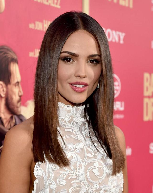 <p>Gonzalez opted for pin-straight strands, bronze eyeshadow, and pink lipstick to attend the Los Angeles premiere of <em>Baby Driver</em>. (Photo: Alberto E. Rodriguez/Getty Images) </p>