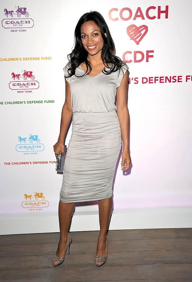 """For the fancy soiree, Rosario Dawson played it safe in a silver Alice + Olivia sheath and Rene Caovilla heels. John Shearer/<a href=""""http://www.gettyimages.com/"""" target=""""new"""">GettyImages.com</a> - April 20, 2011"""