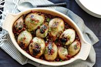"Wrap spiced ground lamb and jasmine rice in layers of onion and bake them with pomegranate molasses until the onions are fragrant and tender. <a href=""https://www.epicurious.com/recipes/food/views/stuffed-onions-with-spiced-lamb-and-pomegranate-51251810?mbid=synd_yahoo_rss"" rel=""nofollow noopener"" target=""_blank"" data-ylk=""slk:See recipe."" class=""link rapid-noclick-resp"">See recipe.</a>"