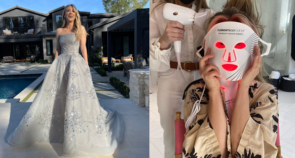 Kaley Cuoco got red-carpet ready with the help of this $600 LED face mask. Images via Instagram/KaleyCuoco, Instagram/JamieMakeup.