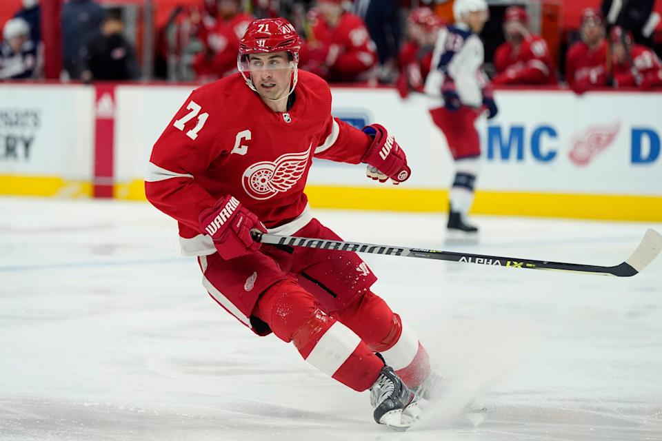 Detroit Red Wings center Dylan Larkin skates during the second period of an NHL hockey game against the Columbus Blue Jackets, Saturday, March 27, 2021, in Detroit.