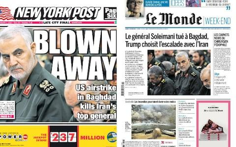 The world reacted with shock to Trump's order - Credit: NEW YORK POST; LE MONDE