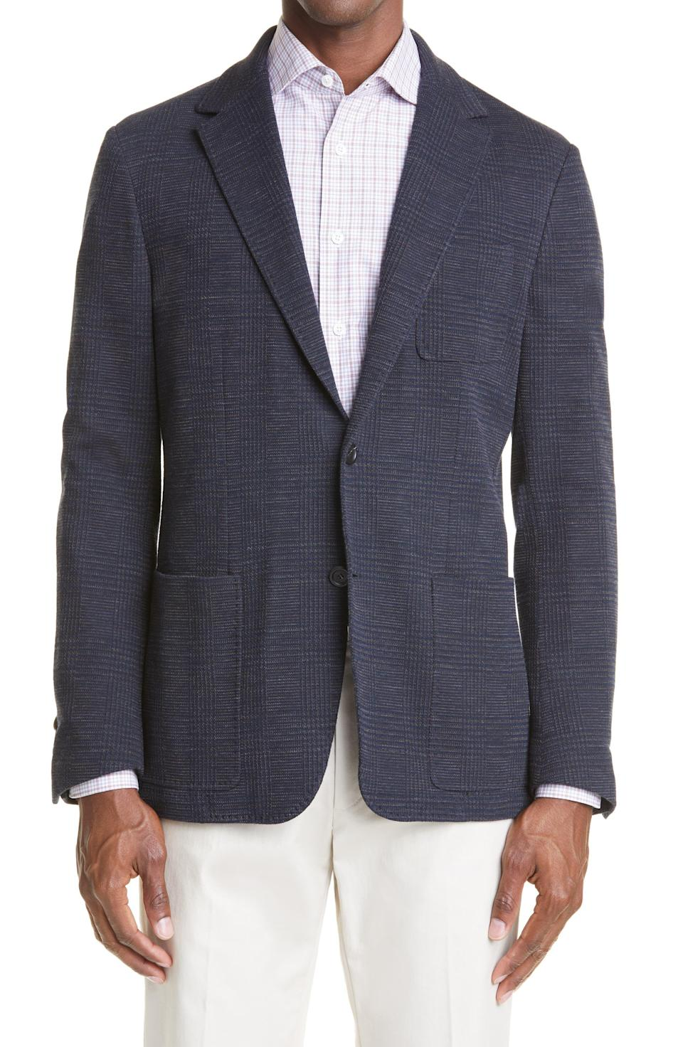 """<p><strong>Canali</strong></p><p>nordstrom.com</p><p><strong>$1045.00</strong></p><p><a href=""""https://go.redirectingat.com?id=74968X1596630&url=https%3A%2F%2Fwww.nordstrom.com%2Fs%2Fcanali-trim-fit-plaid-jersey-sport-coat%2F5871342&sref=https%3A%2F%2Fwww.menshealth.com%2Ftrending-news%2Fg37636277%2Fhoming-from-work-essentials%2F"""" rel=""""nofollow noopener"""" target=""""_blank"""" data-ylk=""""slk:Shop Now"""" class=""""link rapid-noclick-resp"""">Shop Now</a></p><p>A blazer instantly dresses up your appearance. This sport jacket has knit fabric and an unconstructed lining, for stretch and flexibility, so it's as cozy as your favorite sweatshirt.</p>"""