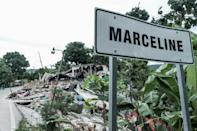 A sign for the Marceline district is viewed after the earthquake near Camp-Perrin, Haiti on August 16, 2021
