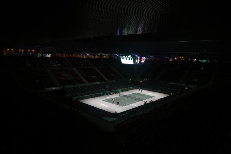 A general view of the Caja Magica or Magic Box,  in Madrid, Spain, Friday, Nov. 15, 2019. The Davis Cup that begins Monday will look nothing like the first one in 1900, nor with any other edition after that. The mastermind behind the biggest overhaul in the history of the Davis Cup isn't hiding his anxiety as tennis' top team event is about to enter a new era. (AP Photo/Manu Fernandez)