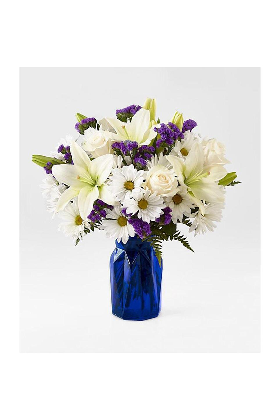 """<p><strong>ProFlowers </strong></p><p>proflowers.com</p><p><strong>$65.00</strong></p><p><a href=""""https://go.redirectingat.com?id=74968X1596630&url=https%3A%2F%2Fwww.proflowers.com%2Fproduct%2Fbeyond-blue-bouquet-prd-nbb%3Fgbb%3DNBBD&sref=https%3A%2F%2Fwww.redbookmag.com%2Flife%2Fg35152525%2Fbest-flower-delivery-service%2F"""" rel=""""nofollow noopener"""" target=""""_blank"""" data-ylk=""""slk:Shop Now"""" class=""""link rapid-noclick-resp"""">Shop Now</a></p><p>Owned by FTD, <a href=""""https://www.proflowers.com/"""" rel=""""nofollow noopener"""" target=""""_blank"""" data-ylk=""""slk:ProFlowers"""" class=""""link rapid-noclick-resp"""">ProFlowers</a> offers same-day delivery for hand-crafted floral arrangements worldwide. They connect online customers with a network locally-owned retail florists.</p>"""