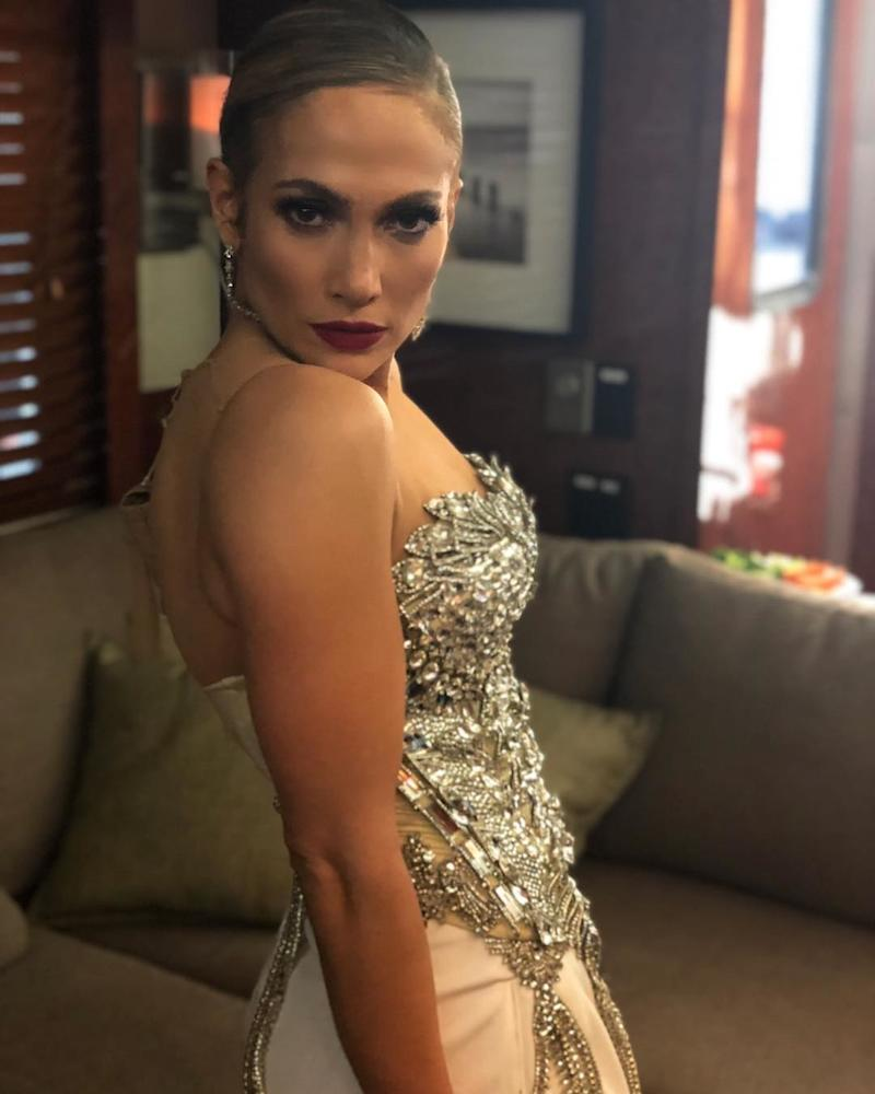"""In the same week she released her new Card B collaboration """"Dinero,"""" Jennifer Lopez poses backstage at the 2018 Billboard Awards. Photo courtesy of Instagram."""