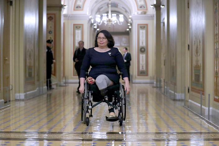 Sen. Tammy Duckworth (D-IL) leaves the U.S. Captiol at the conclusion of the second day of President Donald Trump's impeachment trial January 22, 2020 in Washington, DC. (Chip Somodevilla/Getty Images)