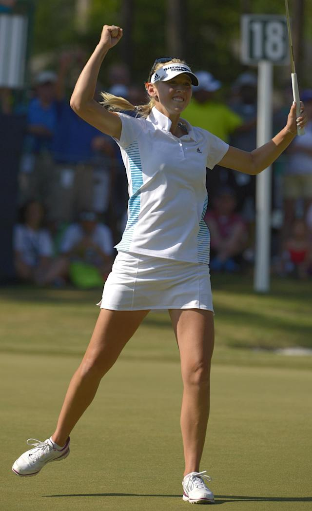 Jessica Korda reacts after sinking a putt on the 18th hole to win the Airbus LPGA Classic golf tournament at Magnolia Grove on Sunday, May 25, 2014, in Mobile, Ala. (AP Photo/G.M. Andrews)