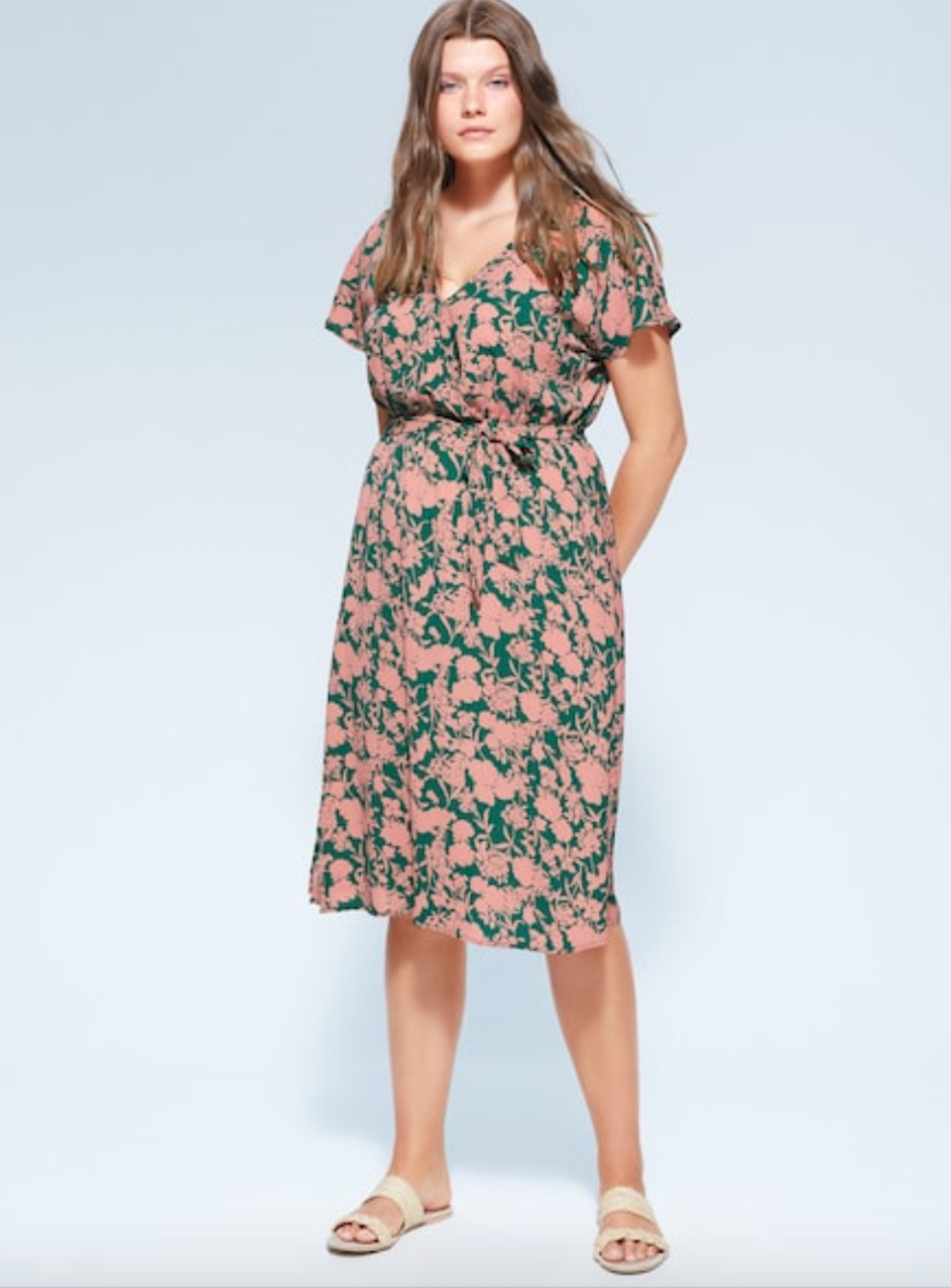 """Take <a href=""""https://shop.mango.com/us/plus-size/dresses-and-jumpsuits_c55386413?sort=desc"""" rel=""""nofollow noopener"""" target=""""_blank"""" data-ylk=""""slk:30% off everything"""" class=""""link rapid-noclick-resp"""">30% off everything</a> this weekend at Mango. <br> <br> <strong>Violeta By Mango</strong> Belt Printed Dress, $, available at <a href=""""https://go.skimresources.com/?id=30283X879131&url=https%3A%2F%2Fshop.mango.com%2Fus%2Fplus-size%2Fdresses-and-jumpsuits-short%2Fbelt-printed-dress_67097639.html"""" rel=""""nofollow noopener"""" target=""""_blank"""" data-ylk=""""slk:Mango"""" class=""""link rapid-noclick-resp"""">Mango</a>"""