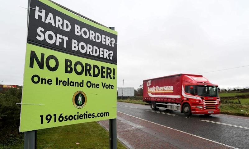 Lorry passes 'no border' sign