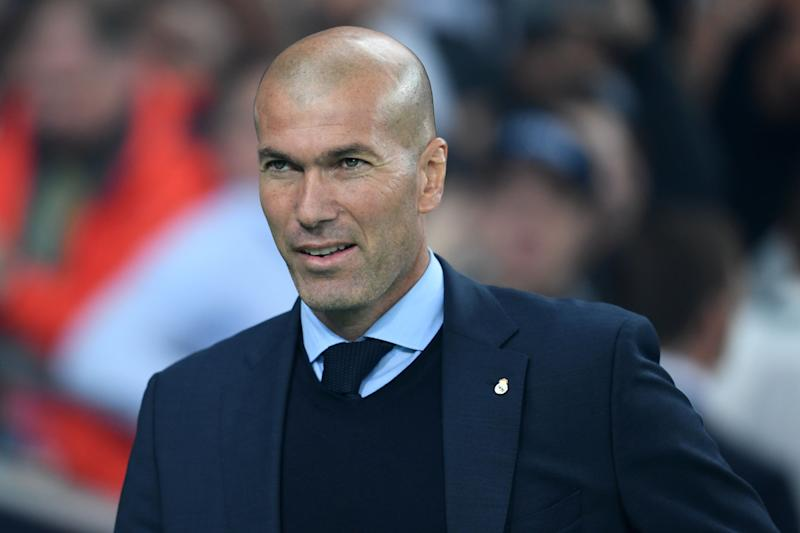KIEV, UKRAINE - MAY 26: Real Madrid head coach Zinedine Zidane looks on prior to the UEFA Champions League final between Real Madrid and Liverpool at NSC Olimpiyskiy Stadium on May 26, 2018 in Kiev, Ukraine. (Photo by Etsuo Hara/Getty Images)