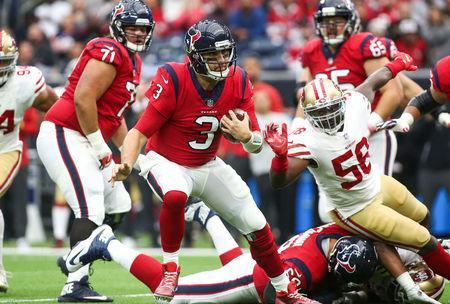 FILE PHOTO: Houston Texans quarterback Tom Savage (3) runs with the ball during the first quarter against the San Francisco 49ers in Houston, Texas, U.S., December 10, 2017. Mandatory Credit: Troy Taormina-USA TODAY Sports/File Photo