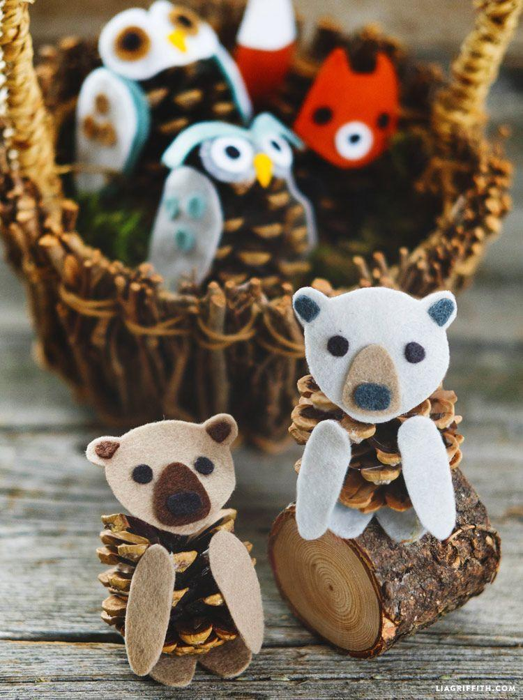 """<p>Pinecones, felt, and a hot glue gun are all kids need to create precious woodland creatures from pinecones. </p><p><strong><em><a href=""""https://www.goodhousekeeping.com/home/craft-ideas/g4239/diy-pinecone-animal-bear/"""" rel=""""nofollow noopener"""" target=""""_blank"""" data-ylk=""""slk:Get the tutorial at Good Housekeeping"""" class=""""link rapid-noclick-resp"""">Get the tutorial at Good Housekeeping</a>. </em></strong></p><p><a class=""""link rapid-noclick-resp"""" href=""""https://www.amazon.com/Bulk-Package-Natural-Pinecones-24-Pack/dp/B077PNQTY3?tag=syn-yahoo-20&ascsubtag=%5Bartid%7C10070.g.37055924%5Bsrc%7Cyahoo-us"""" rel=""""nofollow noopener"""" target=""""_blank"""" data-ylk=""""slk:SHOP PINECONES"""">SHOP PINECONES</a></p>"""