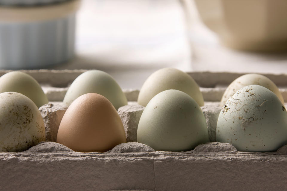 Eggs in a carton. The CSIRO recommends keeping eggs in the fridge.