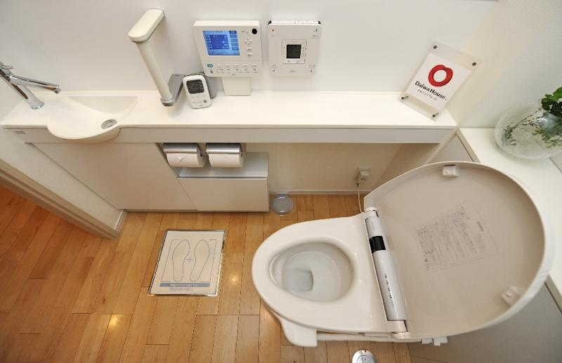 Japanese toilet giant flipping open lid on new museum