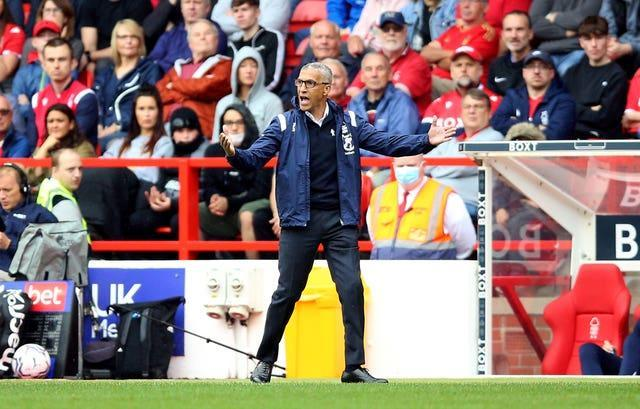 Forest fans called for Hughton to go during Sunday's home defeat to Cardiff