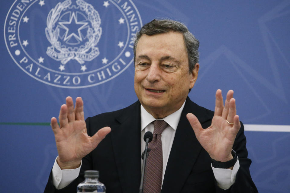 """Italian Premier Mario Draghi speaks during a press conference at Chigi Palace, in Rome, Thursday, Sept. 2, 2021. Draghi has slammed as """"cowardly"""" COVID-19 vaccine opponents who have been threatening or harassing Italian ministers, governors, journalists and doctors. """"I must express my full solidarity to those who have been the target of violence, hate, by the so-called no-vaxers,'' Draghi told reporters at a news conference in Rome Thursday. (Fabio Frustaci/Pool Photo via AP)"""
