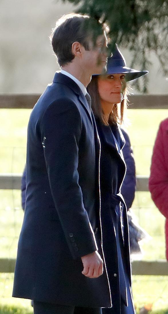 Pippa looked stunning in a dark navy coat and hat. Photo: Getty Images