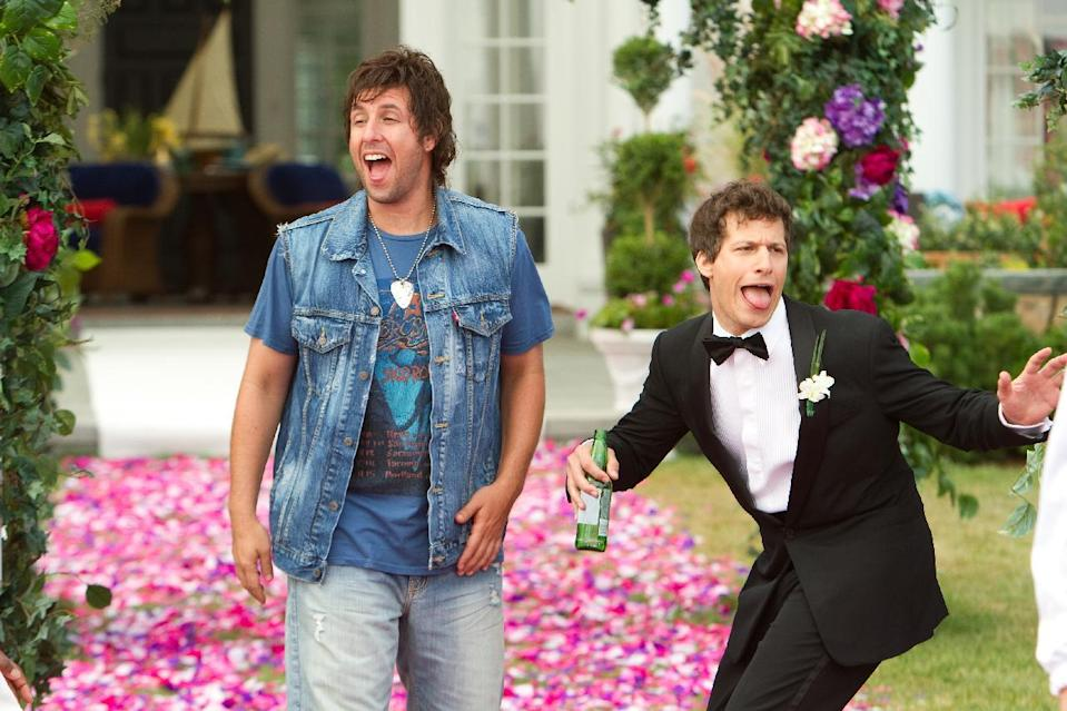 """FILE - This film image provided by Columbia Pictures shows Adam Sandler, left, and Andy Samberg in a scene from """"That's My Boy."""" On Saturday, Feb. 23, 2013, at the 33rd Annual Razzie Awards, Sandler was named worst actor for """"That's My Boy,"""" his second-straight win after 2011's """"Jack and Jill,"""" which swept all 10 Razzie categories. (AP Photo/Columbia Pictures - Sony, Tracy Bennett, File)"""