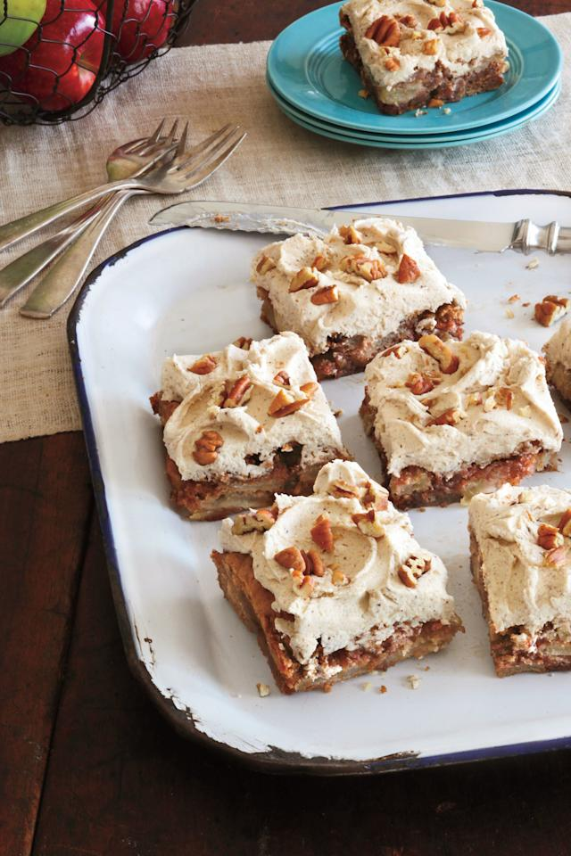 """<p><b>Recipe: <a href=""""https://www.southernliving.com/recipes/fresh-apple-cake"""">Fresh Apple Cake</a></b></p> <p>Nothing says fall like our cozy <a href=""""https://www.southernliving.com/desserts/cakes/fall-apple-spice-cake"""">Fresh Apple Cake</a> that's filled with apples, cinnamon, and nuts.</p>"""