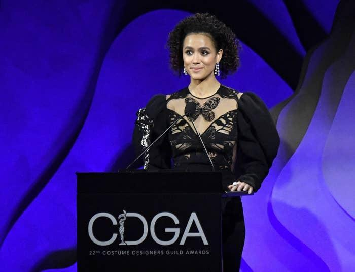 Nathalie Emmanuel speaks onstage during the 22nd CDGA (Costume Designers Guild Awards) at The Beverly Hilton Hotel on January 28, 2020, in Beverly Hills, California
