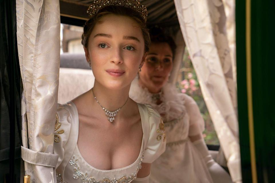 <p>After Lady Whistledown labels her ineligible, Daphne is sent scrambling to find a husband—and lands directly in the arms of the Duke of Hastings, with whom she strikes up a fake relationship that quickly (obviously) turns real. You probably recognize Dynevor from her recurring role as Clare in <em>Younger</em>, the English actor's American debut. </p>