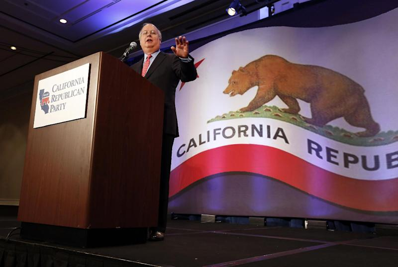 """Republican strategist Karl Rove gestures while at a luncheon at the California Republican Party convention, in Sacramento, Calif., Saturday, March 2, 2013. Rove told California Republicans to """"get off the mat"""", and to find candidates to reflect the party's diversity. (AP Photo/Rich Pedroncelli)"""