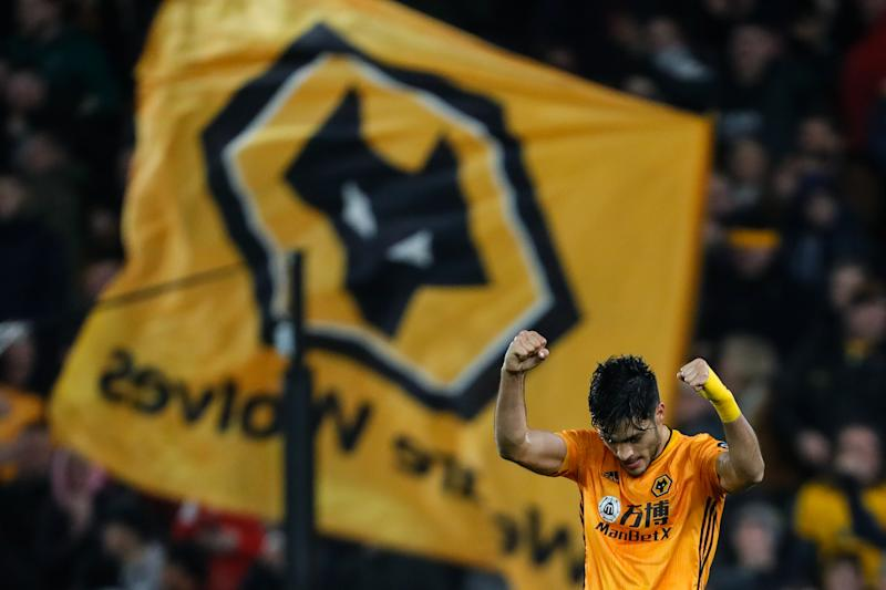 WOLVERHAMPTON, ENGLAND - DECEMBER 27: Raul Jimenez of Wolverhampton Wanderers celebrates after scoring a goal to make it 2-2 during the Premier League match between Wolverhampton Wanderers and Manchester City at Molineux on December 27, 2019 in Wolverhampton, United Kingdom. (Photo by Sam Bagnall - AMA/Getty Images)