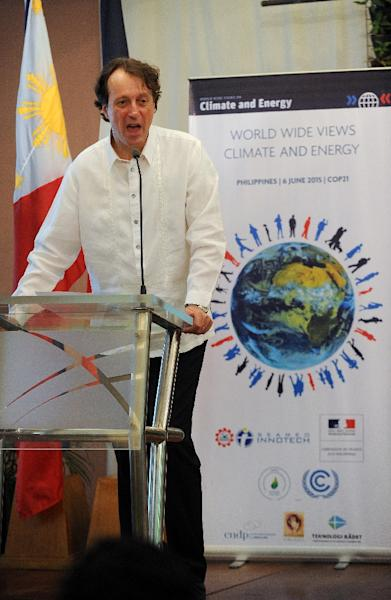 """French ambassador to the Philippines Gilles Garachon speaks during a climate debate forum titled """"World Wide Views on Climate and Energy"""" in Manila on June 6, 2015 (AFP Photo/Jay Directo)"""