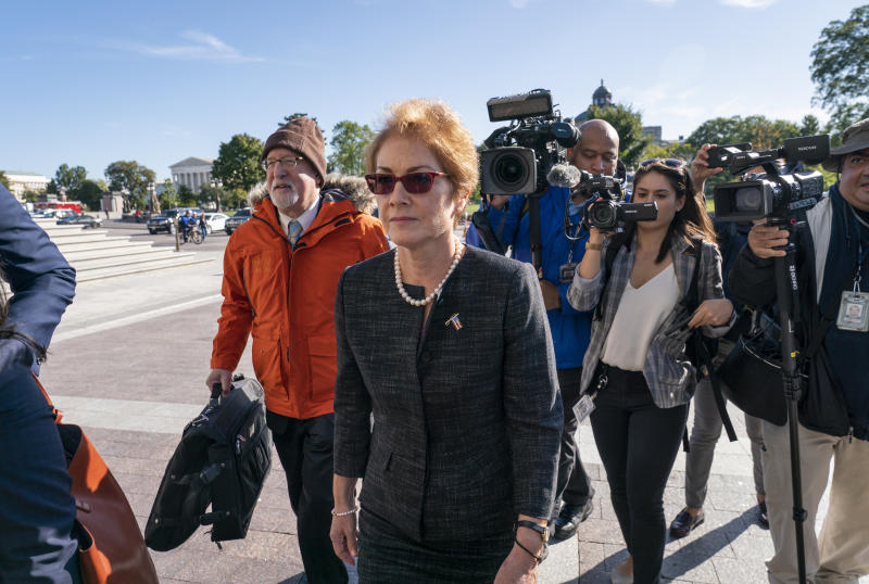 Former U.S. ambassador to Ukraine Marie Yovanovitch, arrives on Capitol Hill, Friday, Oct. 11, 2019, in Washington, as she is scheduled to testify before congressional lawmakers on Friday as part of the House impeachment inquiry into President Donald Trump. (AP Photo/J. Scott Applewhite)