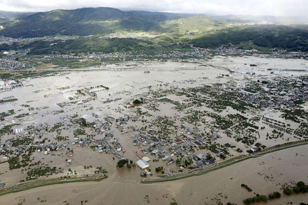 PHOTO: An aerial view shows residential areas flooded by the Chikuma river, caused by Typhoon Hagibis in Nagano, central Japan, Oct. 13, 2019. (Kyodo via Reuters)